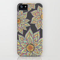 Floral Rhythm In The Dark iPhone & iPod Case by Pom Graphic Design