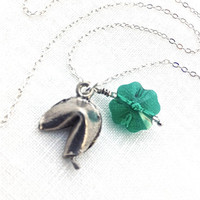 Fortune Cookie Necklace, Four Leaf Clover, Green Clover, Cute Necklace, Silver Fortune, Good Luck Jewelry, Fun Jewelry, Teen Gift