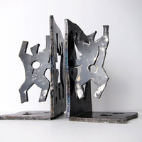 Mid-Century Modernist Bookends / Metal Industrial Brutalist Abstract Sculptures / Modern Steel Art