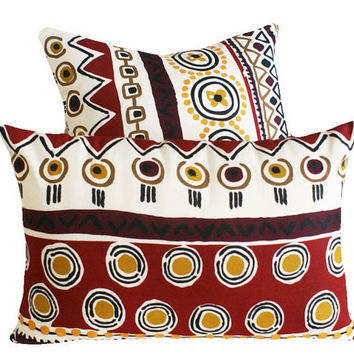 Merlot Red Tribal Throw Pillows 14x20 by PillowThrowDecor on Etsy