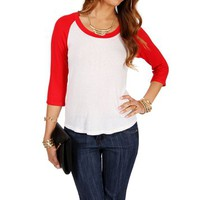Red/White Baseball Scoop Neck Tee