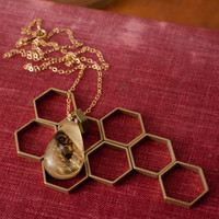 Gold Colony Collapse Real Bee Necklace Small Teardrop by jtopolski