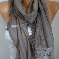 Beige  Shawl Scarf -  Cotton - Lace Scarf Cowl  - Bridesmaid Gift for her mom - fatwoman