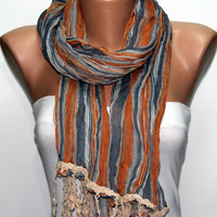 Father's Day Gifts -   Men Scarf - Man Scarf - Brown Scarf - Shawl Scarf -  Cowl by Fatwoman