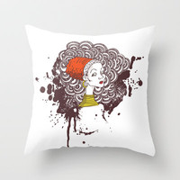 Doodle Native Woman Throw Pillow by sedacivan