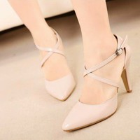 Korean Women OL Sandals High Heels Pumps Strappy Solid Pointed Toe New Shoes