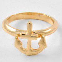 Uniklook Bijoux Sail away Gold Slim Band Anchor Nautical Trendy Fashion Ring 6