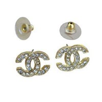 Gold Tone Plated Bling Bling CC Logo Faux Crystal Sparkling Rhinestones Earrings:Amazon:Jewelry