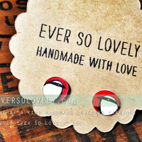 hand drawn red and black love bird earrings - one of a kind
