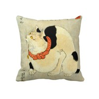 日本猫, 国芳 Japanese Cat, Kuniyoshi, Ukiyo-e Throw Pillow from Zazzle.com