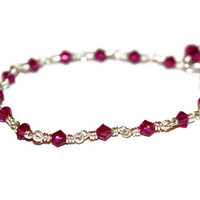rosa - ruby red bracelet by lilla stjarna - swarovski crystals, sterling silver - gifts under 50 -  birthday friendship