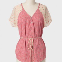 Rekindling Patterned Sash Belt Top at ShopRuche.com