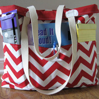 Large Teacher Tote Deluxe, REVERSIBLE, Chevron Beach Bag, school tote bag Red chevron and Red Dots, school colors