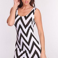 White Black Chevron Print Strappy Dress