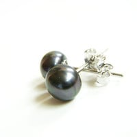 Black Pearl Stud Earrings on Sterling Silver Posts - Pearl Bridesmaid Jewelry