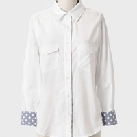 Polka Dot Splash Chambray Top at ShopRuche.com