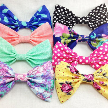 Set of 8 Fun Summer Hair Bow Clips