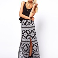ASOS Maxi Skirt in Scarf and Spot Print at asos.com