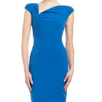 Envelope-Neck Sheath Dress, Light Royal