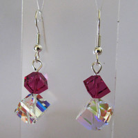 AB Crystal and Fuchsia Dice Earrings