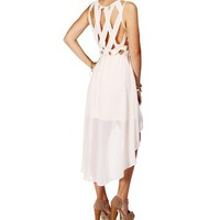 Ivory High Low Criss Cross Back Dress