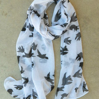 Sparrows in Flight Blanche Scarf [3639] - $14.00 : Vintage Inspired Clothing & Affordable Summer Frocks, deloom | Modern. Vintage. Crafted.