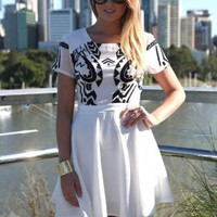 White Cap Sleeve Dress with Printed Top and Skater Skirt
