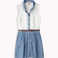 Chambray & Lace Shirt Dress | FOREVER21 girls - 2046852619