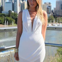 White Sleeveless Dress with Plunging Neckline & Pleat Detail