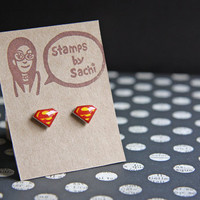 Super Hero Shrink Plastic Stud Earrings -Red&Yellow Superman-