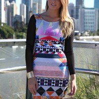 Multi Color Print Bodycon Dress with Mesh Sleeves&Low Back