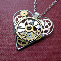 "Clockwork Heart Necklace ""Rakkaus"" Steampunk Heart Pendant Love Sculpture A Mechanical Mind Wearable Art Mechanical Gear Heart"
