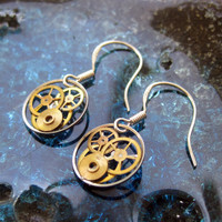 "Earrings Gearrings ""Gearrings Sigma"" Elegant Recycled Mechanical Watch Gear Dangle Sterling Silver French Wire Hook Steampunk Earrings"