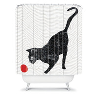 DENY Designs Home Accessories | Randi Antonsen Playing Cat Shower Curtain