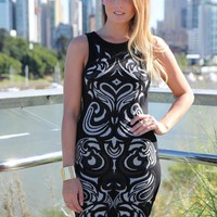 Black Sleeveless Bodycon Dress with Bead Pattern Front