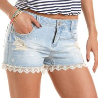 Lace Hem Denim Short: Charlotte Russe