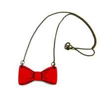 red bow necklace - wooden bow - wood jewelry - wooden pendant