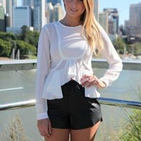 White Long Sleeve Top with Frill Hem Trim & Cuffed Wrist