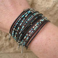 Boho Chic Black Leather Wrap Bracelet with Mixed by DesignsbyNoa