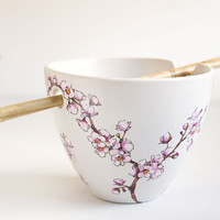 Hand Painted Noodle Bowl - Cherry Blossoms, Botanical Collection - made to order