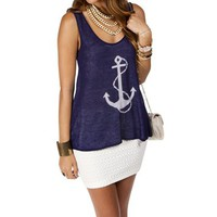 Navy/White Anchor Sleeveless Sweater