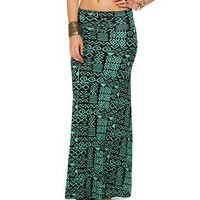 Mint/Black Tribal Print Maxi Skirt