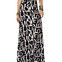 Black/White Love Print Maxi Skirt