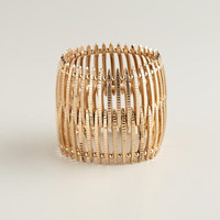 Gold Metal Wide Stretch Bracelet