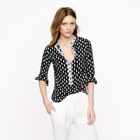 Pre-order collarless shirt in thistle print