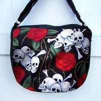 Skull and Roses Purse Zipper Handbag Shoulder Bag Adjustable