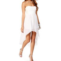 Perla-White Strapless Hi Lo Dress