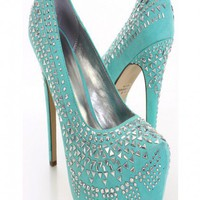 Mint Studded Pump Heels