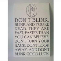 Don't Blink sign  smaller size by Theerin on Etsy
