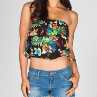 FULL TILT Ruffled Tropical Womens Tube Top